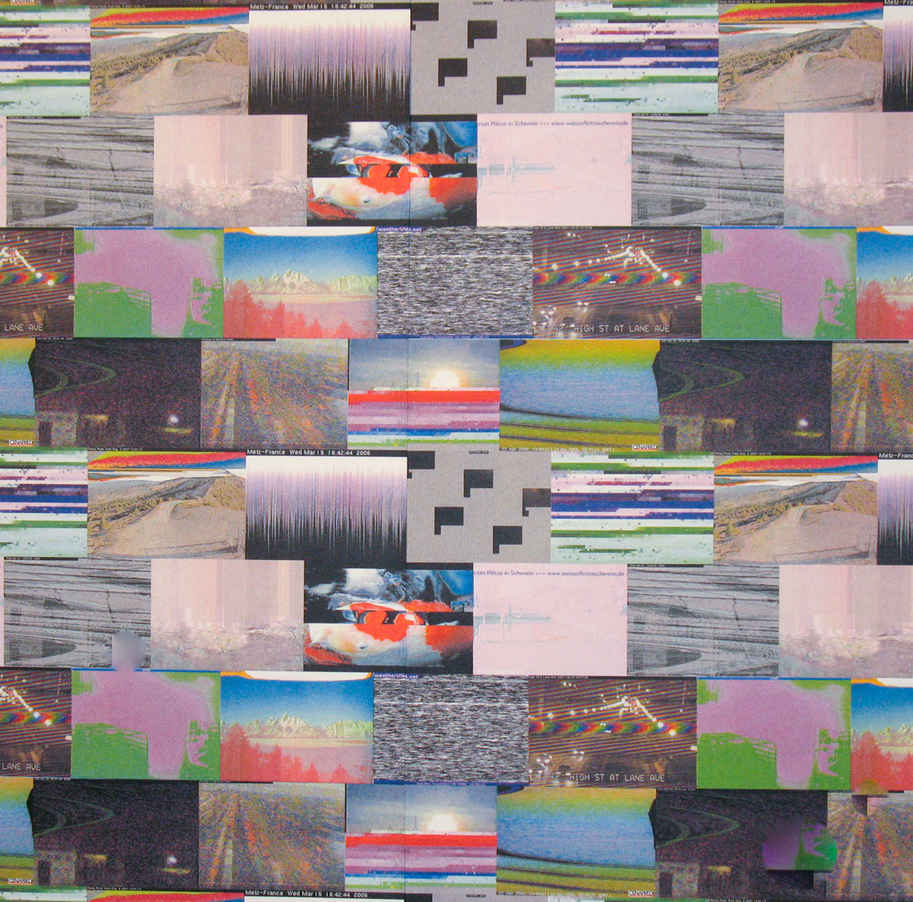 The Aesthetics Of The Glitch Are Cele Ted Here As A Repeating Pattern Wallpaper Design It Is Originally Born From Publicly Available Webcams That