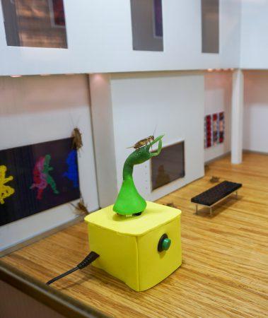 Enlarged Enormous Cricket Vibrator by Isla Hansen and Tucker Marder - in the Engineering Mini Utopia exhibition.