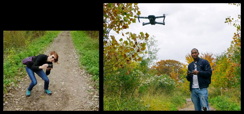 Drone photographer Jamel Youmans and I taking photos of each other on the Pat Dolan Trail
