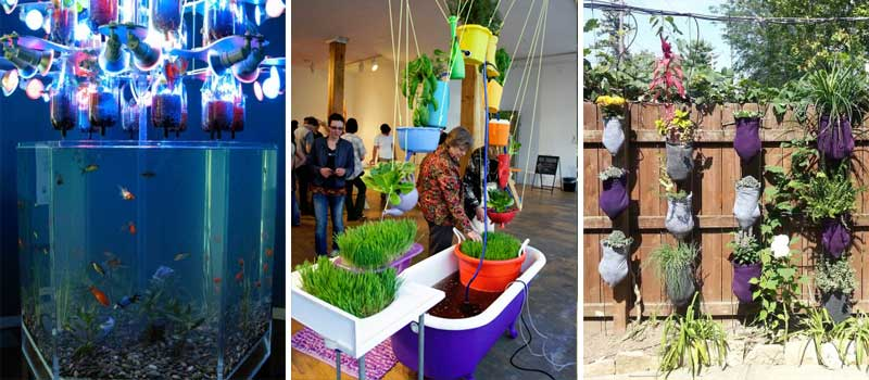 Left: Ken Rinaldo & Amy Youngs, Farm Fountain, 2009; center: Amy Youngs, Building a Rainbow, 2011; right: Ken Rinaldo, Cascading Garden, 2014